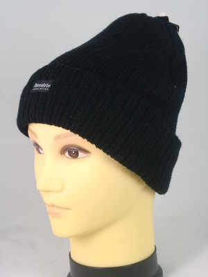 HAI702, Mens ribbed black hat with thermal lining £1.00. pk12...