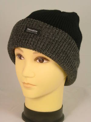 HAI709, Mens black hat with grey cuff and thermal lining £1.00.  pk12...