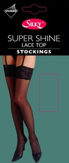 Code:T2, 15 Denier Super Shine Lace Top Stocking £1.45.  pk6....