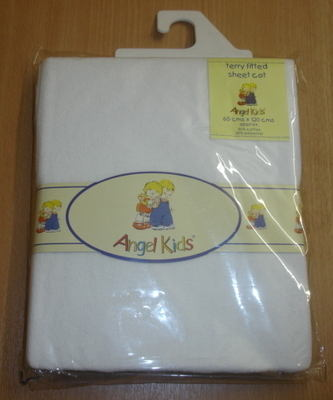 Terry fitted white cot sheet £2.60.  pk3...
