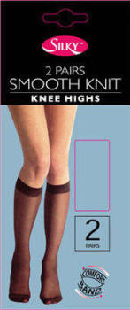 """""""Silky"""" brand 2 pair pack smooth knit knee highs £0.66.  pk6..."""