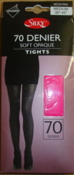 "R200, ""Silky"" 70 denier black opaque tights with spandex £1.55.  pk6.........."