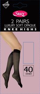 """Silky"" brand 40 denier 2 pair pack soft opaque knee highs £1.42.  pk6..."