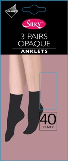 """""""Silky"""" brand 40 denier 3 pair pack opaque anklets £1.50.  pk6..."""