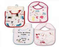 "BW644, ""Nursery Time"" brand baby velcro cotton bib with PEVA back £0.83.  1 dozen.."