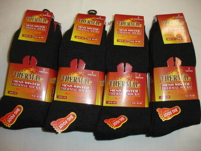 BB102, Mens big foot thermal socks- black.  1 dozen...