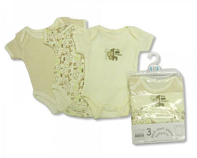 BW0601, 3 Pack Short Sleeve Env Neck Cotton Bodysuit -Ecru  £3.50. 8pks.....