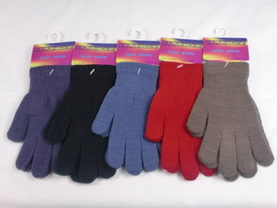 GLM106, Ladies magic gloves in assorted colours £0.30.  pk12..