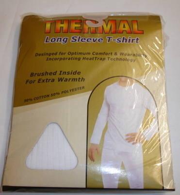 *Mens white long sleeve thermal t shirt £1.85.  PK6...