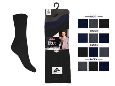 Mens 3 in pack lycra dark assorted socks £1.29.  1 dozen....