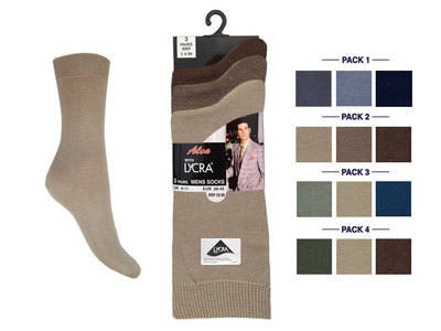 Mens fashion assorted  3 in a pack lycra socks £1.30.  1 dozen.....