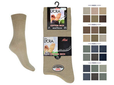 *Mens 6 in a pack fashion assorted cotton rich lycra socks £2.60. (minimum purchase 24 pairs).