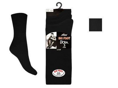Mens black 3 in a pack Big Foot Cotton Lycra black Socks £1.44.  1 dozen....