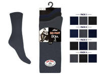 """Aler"" brand mens Big Foot cotton lycra Socks in dark assorted. 1 dozen.."