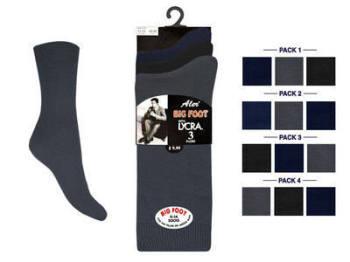 """Aler"" brand mens Big Foot cotton lycra Socks in dark assorted. 1 dozen.."