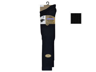 Mens black 3 in a pack long hose 100% cotton socks £1.65.  1 dozen....