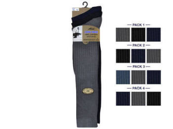 Mens 3 in a pack long hose 100% cotton dark assorted socks £1.65. 1 dozen.
