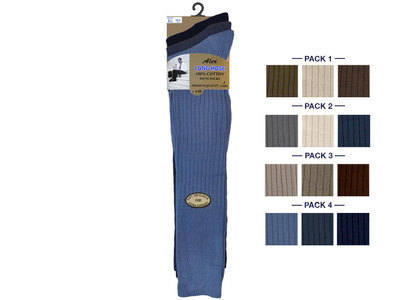 Mens fashion assorted 3 in a pack long hose 100% cotton socks £1.65. 1 dozen..