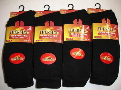 *BB100, Mens 3 in a pack black thermal socks £1.19.  1 dozen..