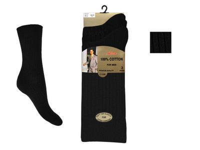 Mens 3 in a pack black 100% cotton socks £1.29. 1 dozen...