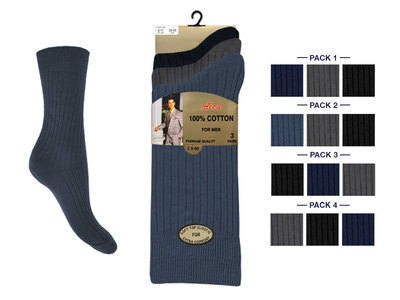 Mens 3 in a pack dark assorted 100% cotton socks £1.29. 1 dozen.....