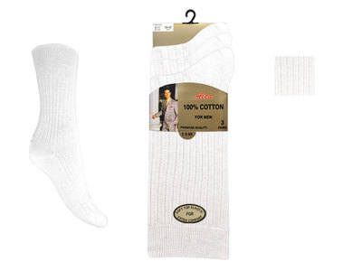 AL7, Mens 3 in a pack white 100%  cotton socks £1.29.  1 dozen.....