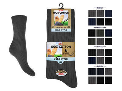 Mens 6 in a pack dark assorted 100% cotton socks £2.55.(minimum purchase 24 pairs).