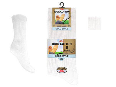 AL8, Mens 6 in a pack 100% cotton white socks £2.58. (minimum purchase 24 pairs)..