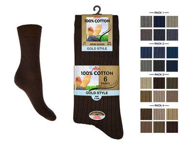 Mens 6 in a pack 100% cotton fashion assorted socks £2.60.  (minimum purchase 24 pairs)....
