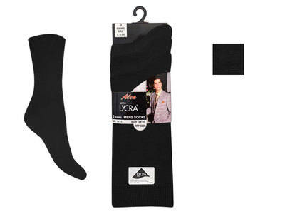 Mens 3 in a pack black lycra socks £1.29.  1 dozen......