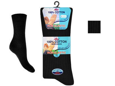 AL43, Mens 100% cotton 3 in a pack black Non Elastic Socks £1.30.  1 dozen...