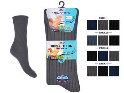 AL44, *Mens 100% cotton 3 in a pack Non Elastic dark assorted Socks £1.33. 1 dozen.