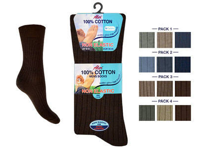 AL42, Mens 100% Cotton 3 in a pack Non Elastic fashion assorted Socks £1.33. 1 dozen.