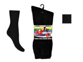 LSP1, Mens 3 in a pack plain black sport socks £0.75.  1 dozen........