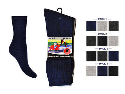 MPS7, Mens 3 in a pack plain sport socks in assorted colours £0.74.  1 dozen........