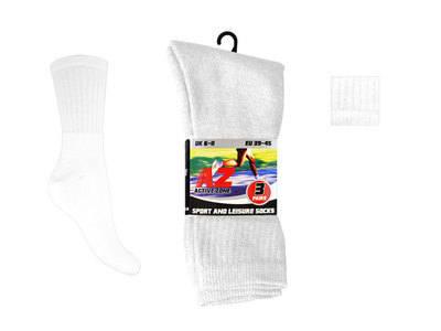 Mens 3 in a pack plain white sport socks £0.69.  1 dozen........