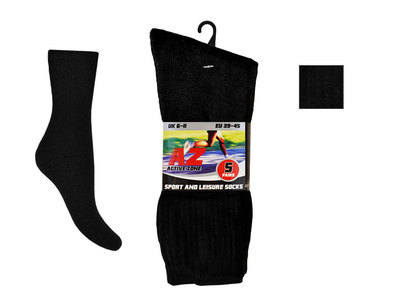 MPS9, Mens 5 In a pack plain black sport socks £1.25.    2pks....