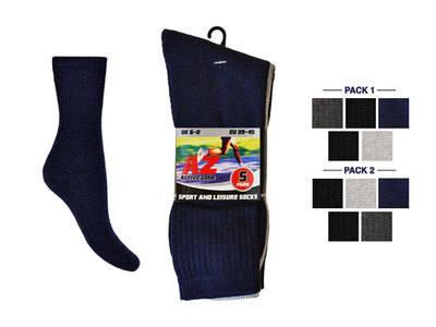 MPS8, Mens 5 in a pack plain colour assorted sport socks £1.20.   2pks.....