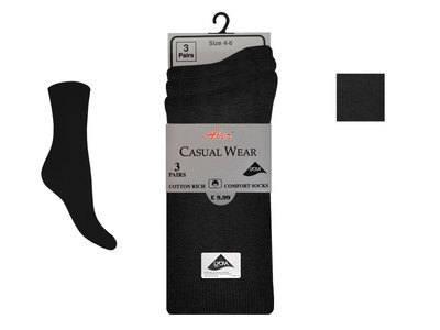 BLK1, Ladies 3 in a pack black lycra socks £1.20.  1 dozen...