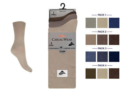 FASH1, Ladies 3 in a pack fashion assorted lycra socks £1.20.  1 dozen......