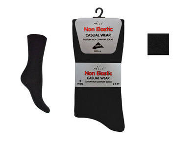 NEB1, Ladies 3 in a pack black non elastic socks £1.24.  1 dozen.....