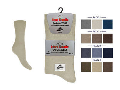 AL677, Ladies 3 in a pack non elastic fashion assorted socks £1.24.  1 dozen....