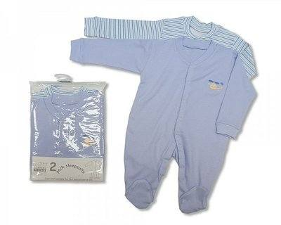 BW803B, Boys 2 in a pack cotton sleepsuits £4.65. 6pks....