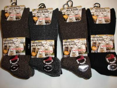 Mens 3 in a pack chunky wool blend non elastic socks £2.40.  1 dozen..