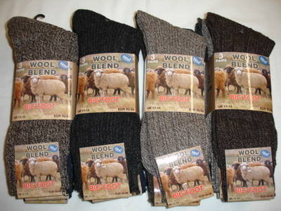 Mens 3 in a pack big foot chunky wool blend socks £2.24.  1 dozen..