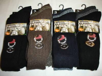 SE4, Mens 3 in a pack short chunky wool blend socks in cascade pack £1.88.  1 dozen..