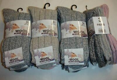 Ladies 3 in a pack short chunky wool socks £1.75.  1 dozen....