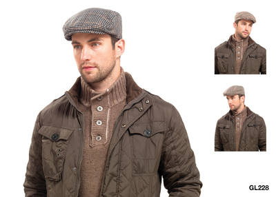 GL228A, Mens flat cap with wool £2.00. pk12...