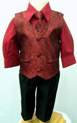 *(C), Code:122, Boys stylish red suit consisting of waistcoat, trouser, shirt & tie....