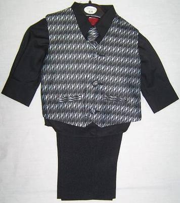 *(C), Code:122, Boys stylish suit consisting of black waistcoat, black trouser, black shirt & black tie....